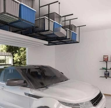 Overhead storage containers for garage organization and better vehicle storage