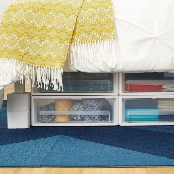 Under the bed storage for dorm organization