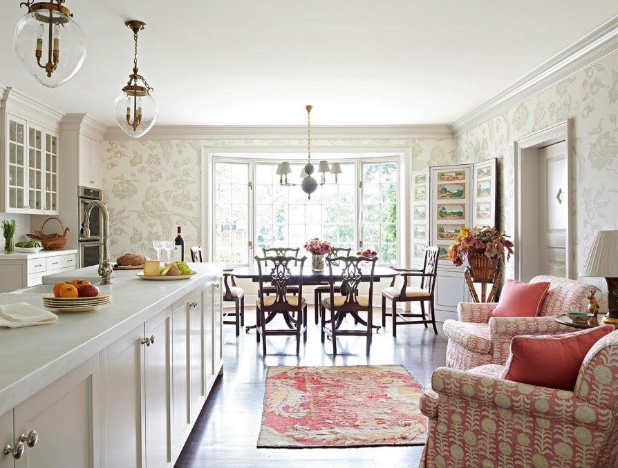 Kitchen outfitted with grandmillennial dining room set