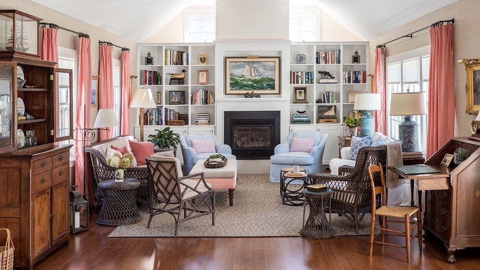 Grandmillennial living room from The Glam Pad with wicker chairs & drapes