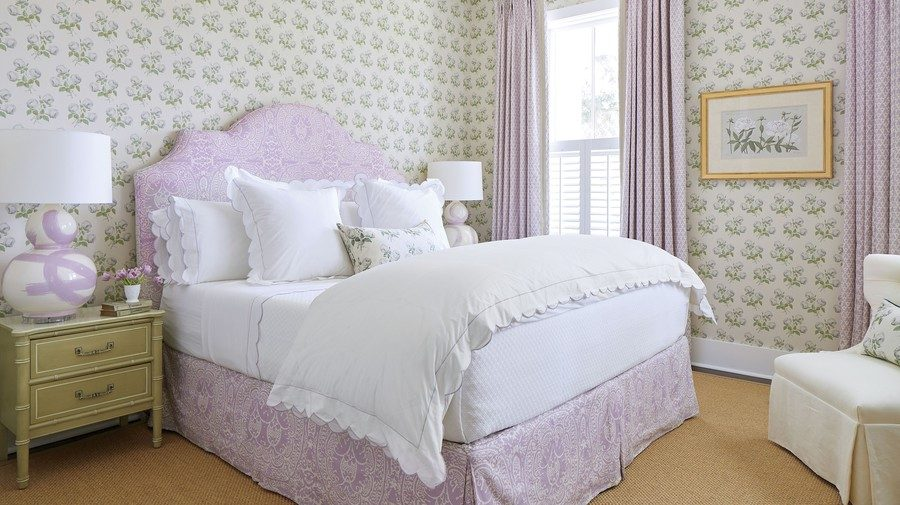 Purple bedroom with floral wallpaper