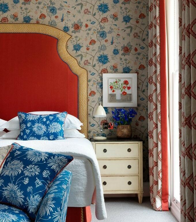 Bedroom with upholstered headboard
