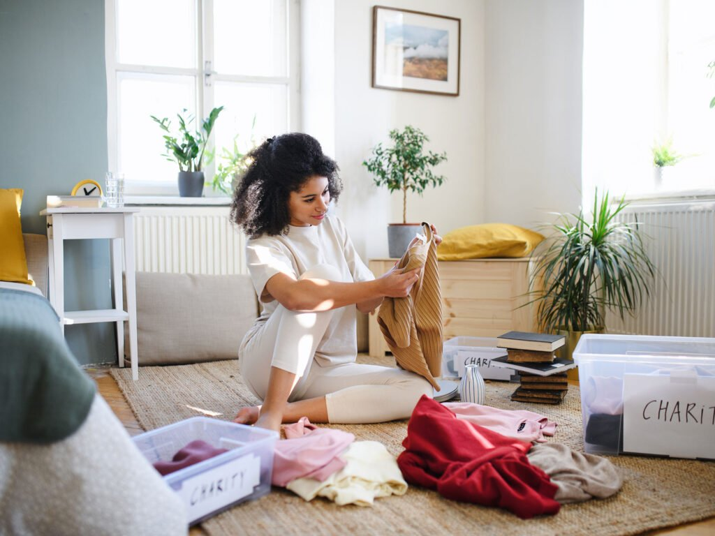Young Woman Starting to Declutter Home