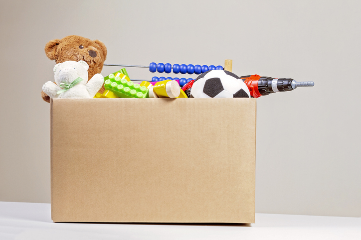 a donation box filled with toys